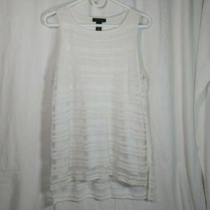 Whbm large white sheer stripe tank top